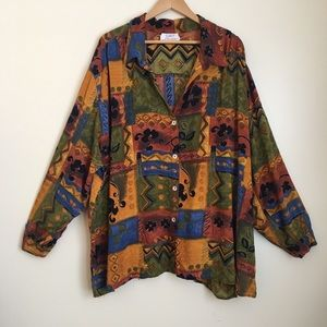 Vintage Bohemian 90s Patterned Button Up Shirt